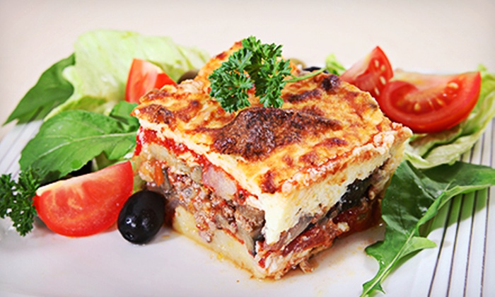 PapaSpiros - Oak Park: Greek Dinner with Wine, Salad, and Dessert for Two or Four at PapaSpiros (Up to 51% Off)