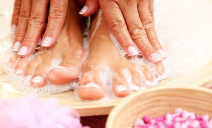image for Mani-Pedi or Shellac and Traditional Mani-Pedi at Charleston <strong>Nails</strong> & Spray Tan (Up to 52% Off)