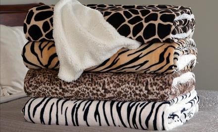 Lavish Home Animal-Print Fleece Blankets with Sherpa Backing