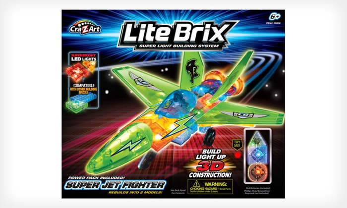 Cra-Z-Art Lite Brix Fire Station or Jet: Lite Brix Fire Station with Truck or Lite Brix Super Jet Fighter (Up to 81% Off). Free Shipping.