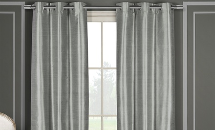 Faux-Silk Double-Layered Blackout Thermal Window Panel Pair