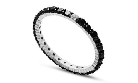 1.00 CTTW Black and White Diamond Eternity Band in Sterling Silver