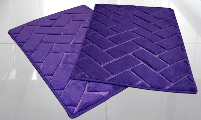 Memory Foam Bathroom Set. Set Of Two 17x24 Plush Memory Foam Bath Mats