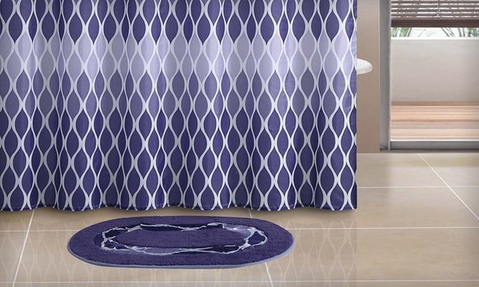 14-Piece Bath Set with Bath Mat: 14-Piece Bath Set with Bath Mat in Brown or Purple. Free Returns.
