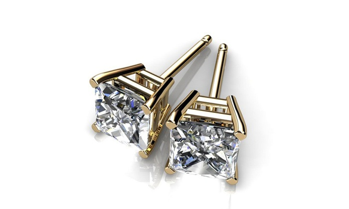 Princess Cut CZ Studs: Princess Cut Cubic Zirconia Stud Earrings. Multiple Styles Available. Free Returns.