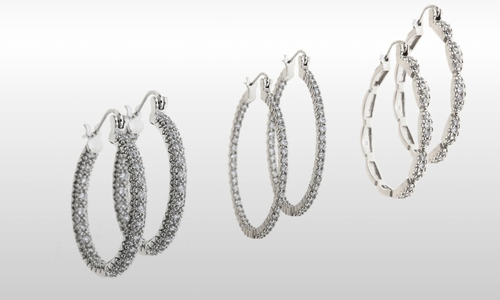 18K White Gold-Plated CZ Hoops: 18K White Gold-Plated CZ Hoop Earrings. Multiple Styles Available.