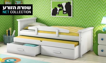 שמרת הזורע: מיטת ילדים דגם לגונה, הכוללת מיטה עליונה, מיטת חבר נשלפת, 2 מגירות אחסון, מעקה בטיחות ו-2 מזרנים אורתופדיים