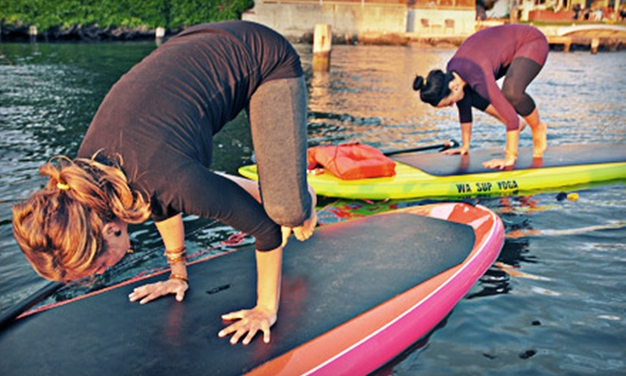 WASUP Yoga - Ballard: Three Standup-Paddleboard-Yoga Classes for One or Six Classes for Two from WASUP Yoga (Up to 51% Off)