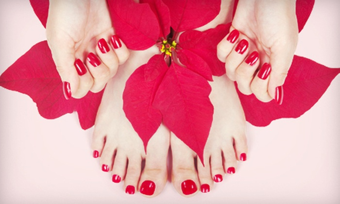 Just 4 Look Nails - Lakewood: Shellac Manicure and Spa Pedicure for One or Two at Just 4 Look Nails (Up to 51% Off)