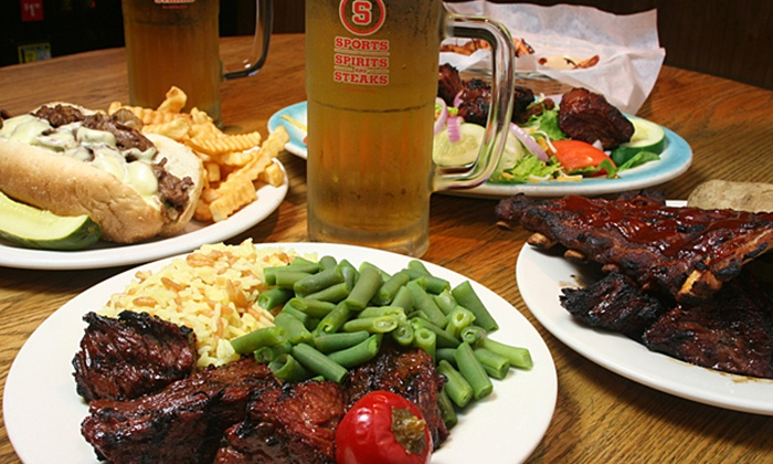 Sports, Steaks & Spirits - North Reading: American Pub Cuisine at Sports, Steaks & Spirits (Up to 48% Off). Two Options Available.