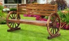 Wooden Wagon Wheel Garden Bench
