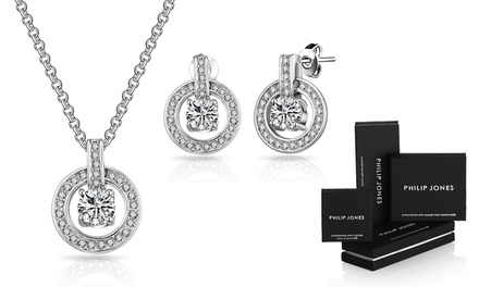 Philip Jones Round Halo Jewellery Set with Crystals from Swarovski®