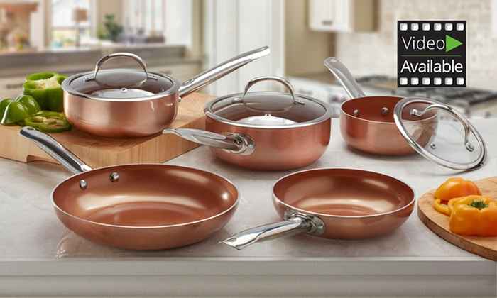 Groupon Goods Global GmbH: Cooks Professional Copper-Ceramic Pan Sets from £19.99 (Up to 67% Off)
