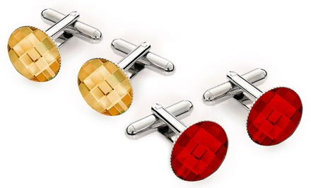 Rhodium-Plated Cufflinks Made with Swarovski Elements