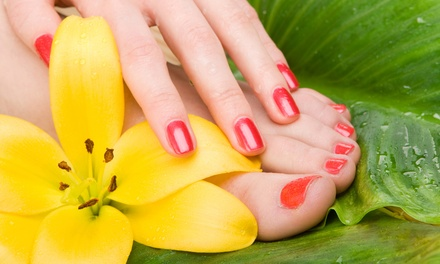 One or Two Express Manicures with Zero-Gravity Signature Pedicure at Nail and Face Space Salon (51% Off)