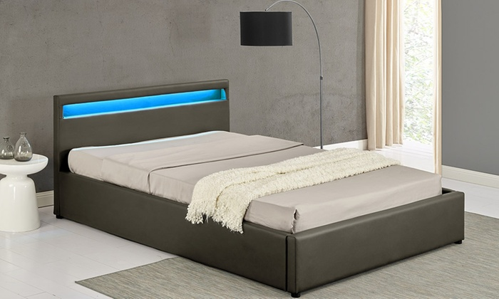 lit coffre led avec ou sans matelas groupon. Black Bedroom Furniture Sets. Home Design Ideas