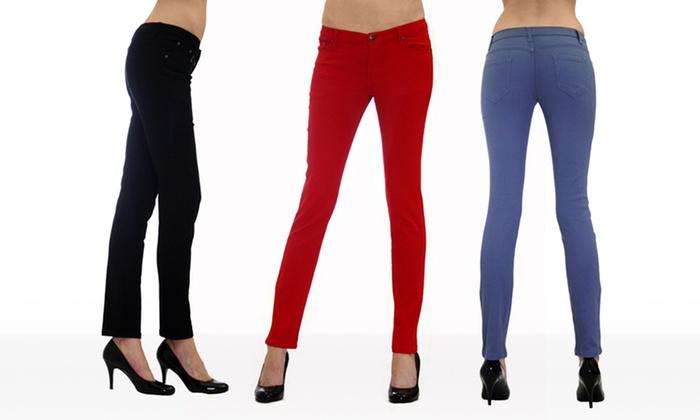 Dinamit 5-Pocket Skinny Twill Pants: Dinamit 5-Pocket Skinny Twill Pants in Black, Jean, Red, or Royal