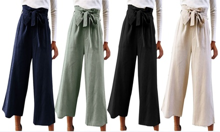 $19 for One Pair or $29 for Two Pairs of HighWaisted Wide Leg Cropped Trousers