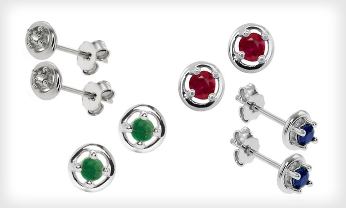 Four-Pair Set of Gemstone and Diamond Stud Earrings: $24 for Four-Pair Set of Gemstone and Diamond Stud Earrings ($112 List Price). Free Shipping and Free Returns.