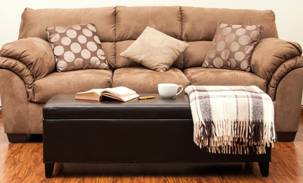 Dark Brown Bonded-Leather Storage Ottoman