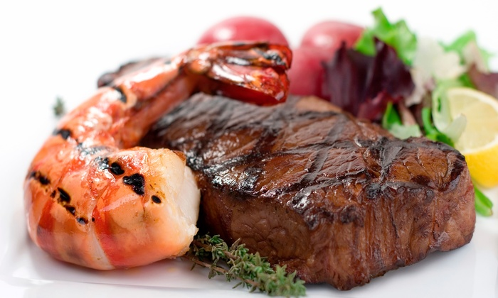 Pampas Brazilian Grille - The Strip: Brazilian Surf 'n' Turf Lunch or Dinner with Drinks and Dessert for Two at Pampas Brazilian Grille (Up to Half Off)