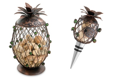 Pineapple Cork Cage and Matching Bottle Stopper