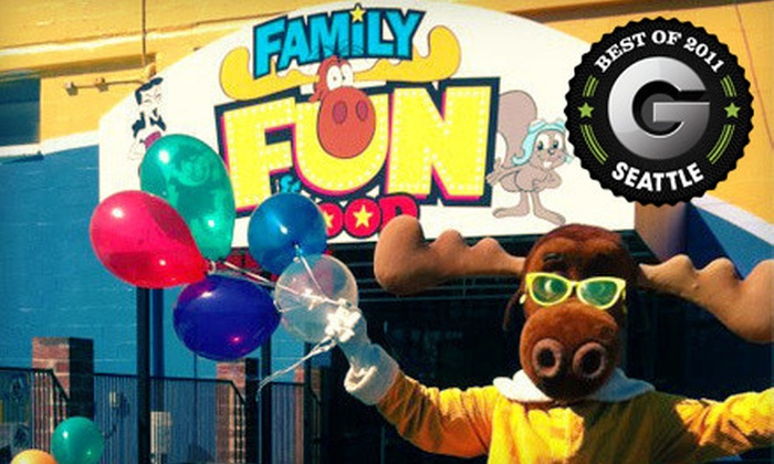 Family Fun Center & Bullwinkle's Restaurant Seattle - Multiple Locations: $12 for Rides and Attractions at Family Fun Center & Bullwinkle's Restaurant ($25.99 Value). Two Locations Available.