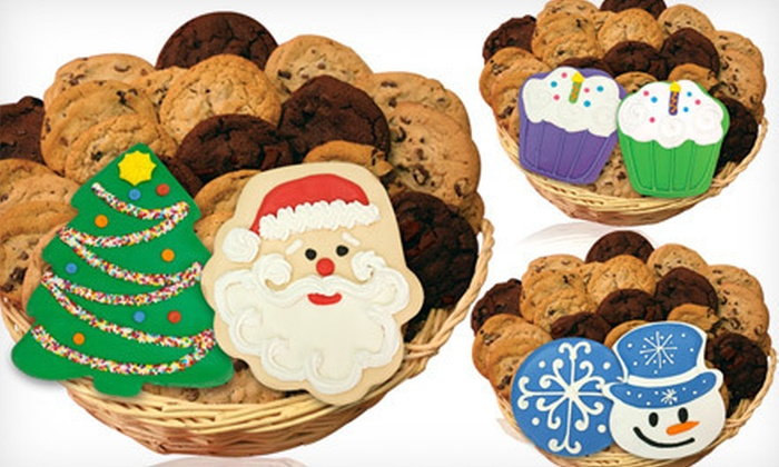 Clever Cookie - Islip: $24 for Gourmet Cookie Basket with 24 Regular Cookies and 2 Large Decorated Cookies from Clever Cookie ($47.99 Value)