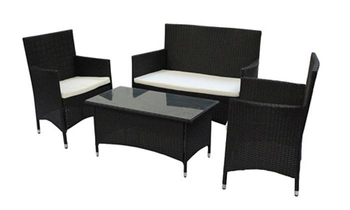 mobilier de jardin en poly rotin groupon. Black Bedroom Furniture Sets. Home Design Ideas
