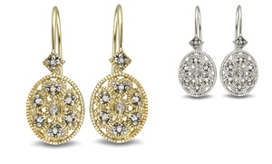 Diamond Accent Filigree Earrings