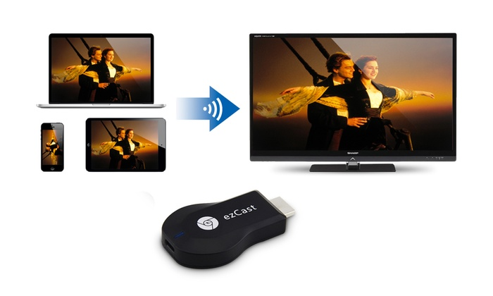 Groupon Goods Global GmbH: Chiavetta WiFi HDMI ezCast per streaming multimediale su TV HD a 29,90 €
