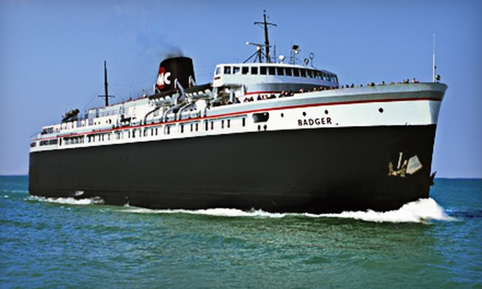 """SS. Badger Lake Michigan Carferry - Multiple Locations: $162 for a Round-Trip Mini-Cruise for Two Adults from the """"S.S. Badger"""" Lake Michigan Carferry ($325.95 Value)"""