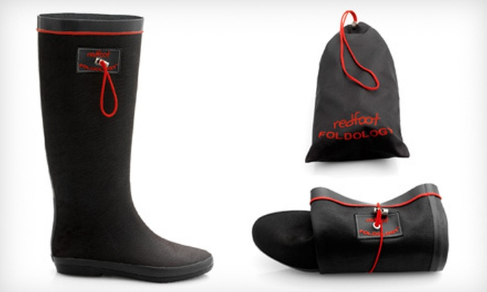 Redfoot Foldable Rain Boots: $34 for Redfoot Folding Wellington Boots in Matte Black ($99 List Price). Five Sizes Available.