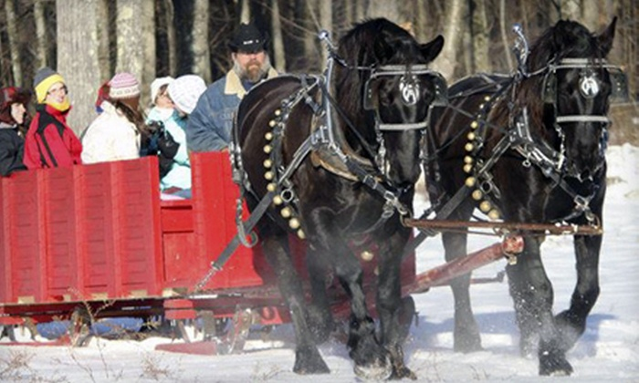 Cornerstone Ranch - Princeton: Horse-Drawn Sleigh or Wagon Ride with S'mores and Hot Cocoa for Two or Four at Cornerstone Ranch (Up to 54% Off)