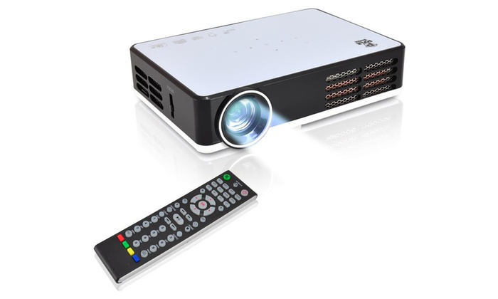 Pyle mini hd led smart projector groupon goods for Compact hd projector