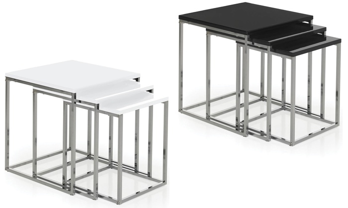 Photo Black High Gloss Nest Of Tables Images Small