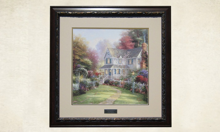Framed thomas kinkade print groupon goods for Home interiors thomas kinkade prints