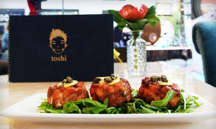 Toshi's Living Room & Penthouse - Midtown South Central: Dinner for Two or Four on a Monday–Wednesday or Thursday–Saturday at Toshi's Living Room & Penthouse (Up to 48% Off)