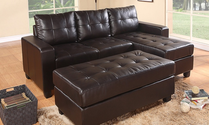 Three Seater Leather Sofa Set