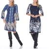 Women's Floral Border Print Dress. Plus Sizes Available.