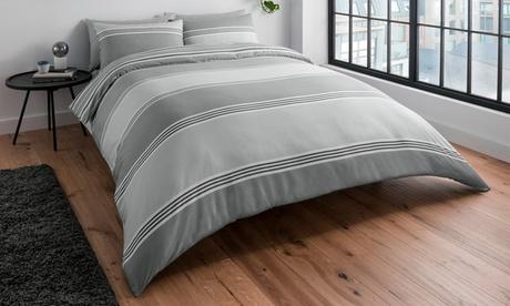 Funda nórdica a rayas con bandas con 1 o 2 fundas de almohada