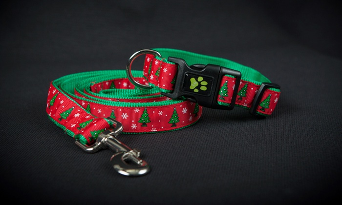 Holiday-Themed Pet Collars and Leashes: Holiday-Themed Pet Collars and Leashes. Multiple Options Available from $12.99–$16.99.
