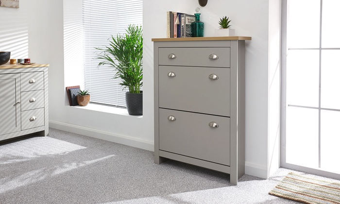 Two Tier Slimline Shoe Cabinet | Groupon