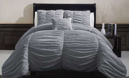 groupon daily deal - 4-Piece Ruched Comforter Set. Multiple Options from $59.99–$69.99. Free Returns.