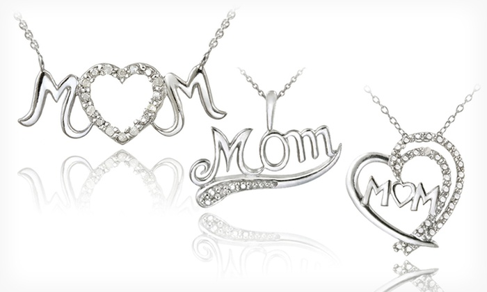 Sterling Silver Mom Necklaces: Sterling Silver Mom Necklace With Diamond Accents (Up to 75% Off). 3 Styles Available. Free Shipping and Returns.