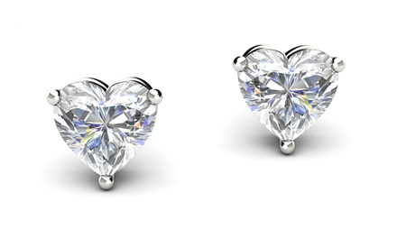 Heart Stud Earrings with Swarovski Elements