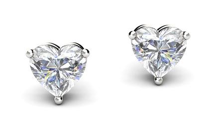 Heart Stud Earrings with Swarovski Elements