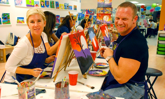 A Painting Fiesta - Splitsville Lanes: $22 for a Two-Hour BYOB Painting Class with Chips and Salsa at A Painting Fiesta ($40 Off)