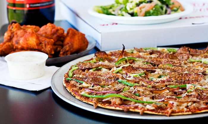 "St. Louis Pizza & Wings - Multiple Locations: Pizza Meal with 16"" One-Topping Pizza, Menu Item $7.99 or Less & Large Salad at St. Louis Pizza & Wings ($31.97 Value)"