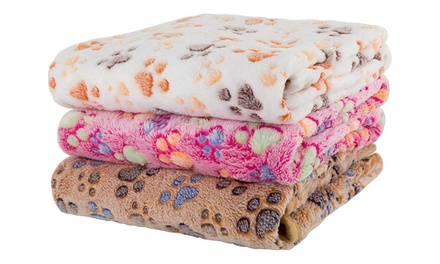 Paw Print Fleeced Thermal Pet Blanket